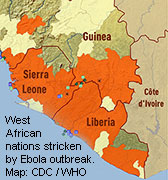 Only about 40 percent of the nearly $2.9 billion in international aid pledged to the Ebola outbreak in West Africa had reached the hard-hit countries of Guinea