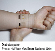 An experimental device uses a patch to monitor blood glucose levels via sweat