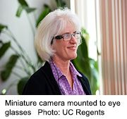 A device mounted onto eyeglasses enables people considered legally blind to